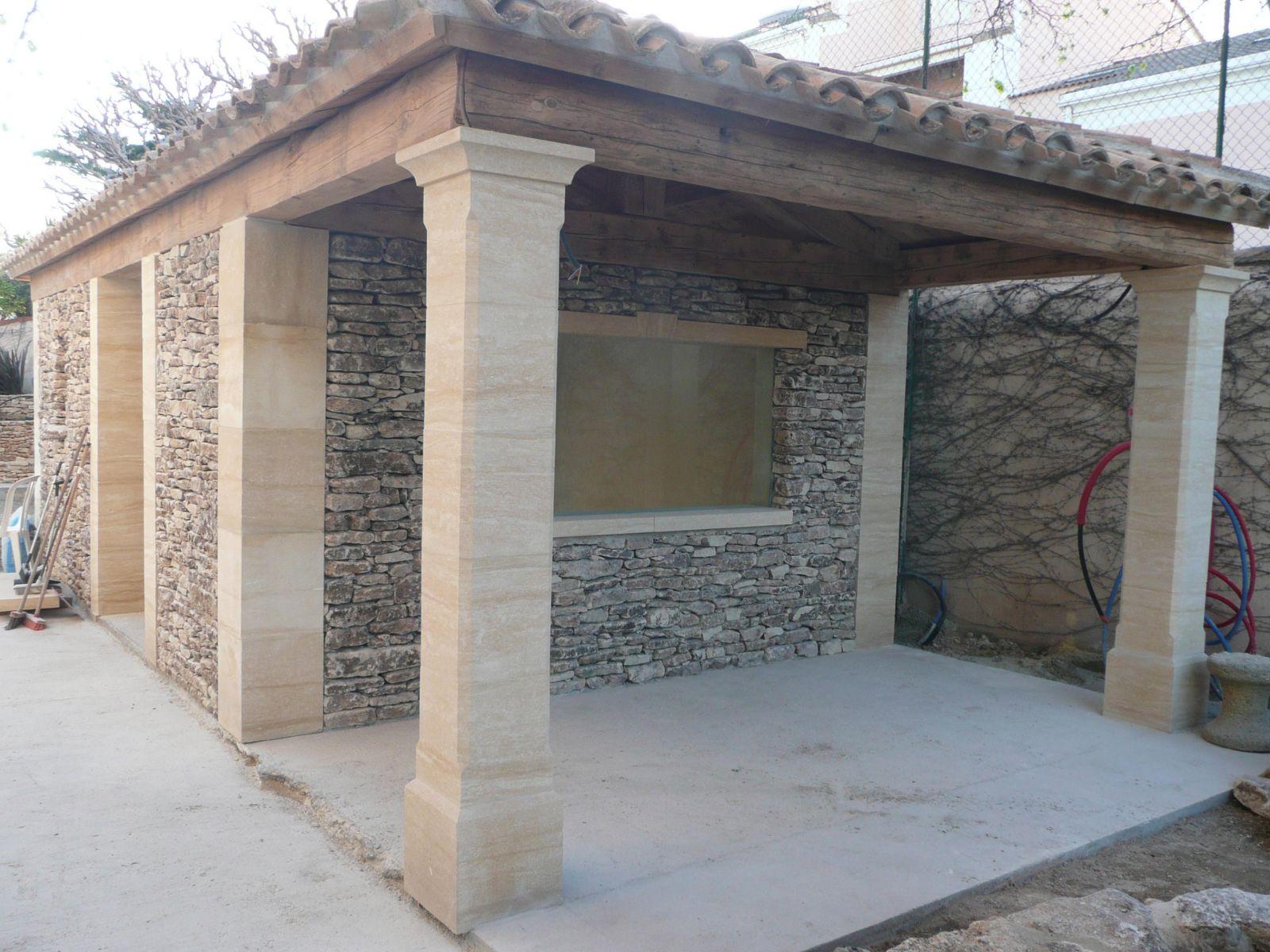 Pierre Naturelle Pour Facade pilier en pierre de dordogne pour une terrasse à mimet